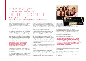 The Temple Skincare is voted beauty salon of the month at Castle Hill.