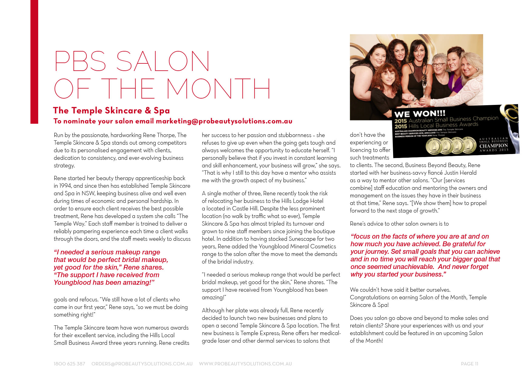 Temple Skincare voted salon of the month