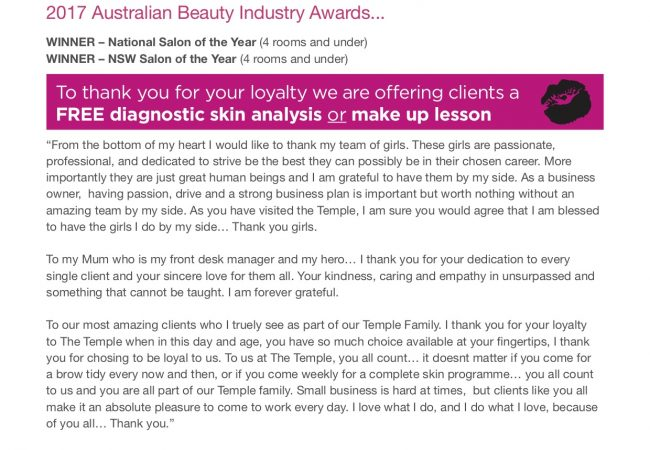 National & NSW Australian Beauty Industry – Salon of the Year 2017