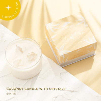 Pure fiji ISLE OF SUN SOY CANDLE WITH CRYSTAL